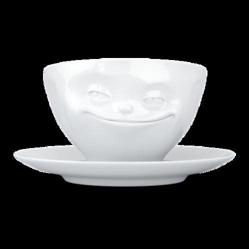 """Kaffeetasse ,,Grinsend"""" weiß 200 ml"""