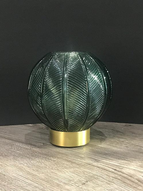 Glas Windlicht grün batteriebetrieben