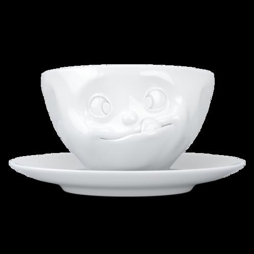 "Kaffeetasse ,,Lecker"" weiß 200 ml"