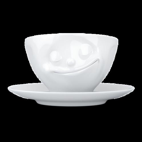 """Kaffeetasse ,,Glücklich"""" weiß 200 ml"""
