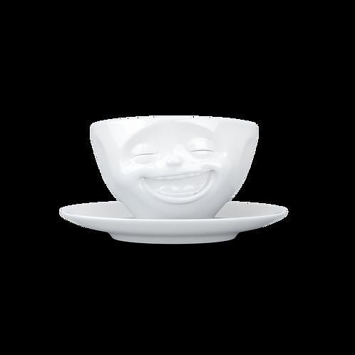 """Kaffeetasse weiß """"lachend"""" 200ml"""