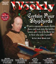 Singer songwriter Randy Brooks in reindeer attire on the cover of Fort Worth Weekly