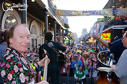 Songwriter Randy Brooks sitting in on Bourbon Street at Pardi Gras