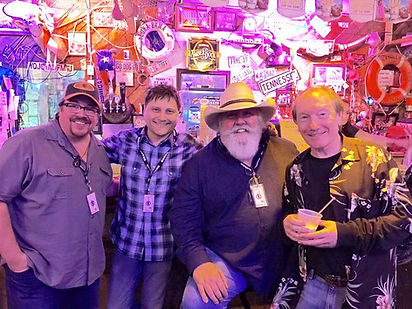 Singer/songwriters Scott Southworth, Heino Moeller, Frank Martin Gilligan, and Randy Brooks, following a songwriter round at the Flora-Bama for the Frank Brown International Songwriters' Festival