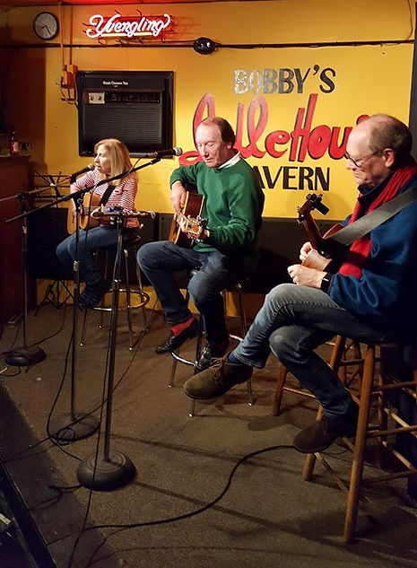 Pam Belford, Randy Brooks, and Ronnie Brooks, onstage at Bobby's Idle Hour, Music Row, Nashville