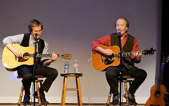 Singer/songwriter Randy Brooks & Johnny Hooper performing at the Plaza Theatre, Garland, Texas, for Preservation Garland