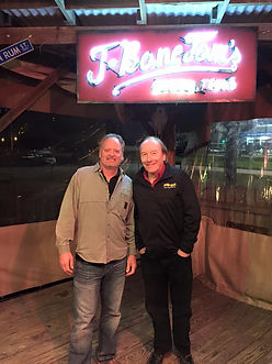 Singer songwriters Jimmy Parrish and Randy Brooks, featured artists at a T-Bone Tom's Pirates and Poets night in Kemah, Texas