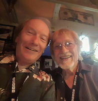 Songwriters Randy Brooks and Bruce Channel backstage at the Flora-Bama, during the Frank Brown International Songwriters' Festival