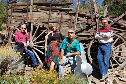Northern Nevada-based Americana band Southwestern Pilgrimage, from a photo shoot at Gold Hill, Nevada.  From left: Randy Brooks, Karen Roemmich, Rod Phillips, Rick Sparks.  Photo by Bob Piechocki
