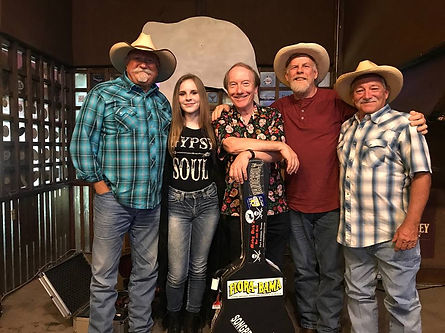 Brett Watts, Kadie Lynn, Randy Brooks, David Byboth, and Wade Hatton, assembled for a songwriter round at the White Elephant Saloon, Fort Worth