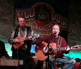 Singer/songwriter Randy Brooks, accompanied by Rick Sparks, performing at the Red Dog Saloon, Virginia City, Nevada