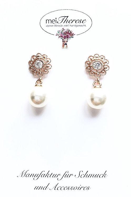 Perlenohrringe *Mitzi* rosevergoldet S