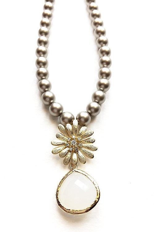 Perlenkette *Daisy* platinfarben/vergoldet