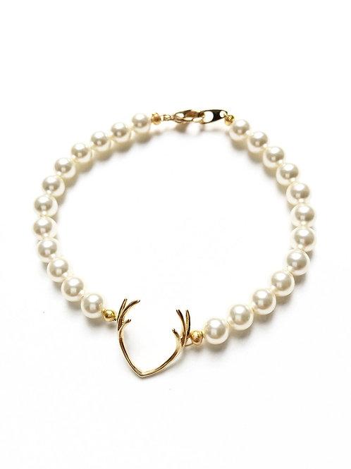 Perlenarmband *Hirschfänger* gold/creme