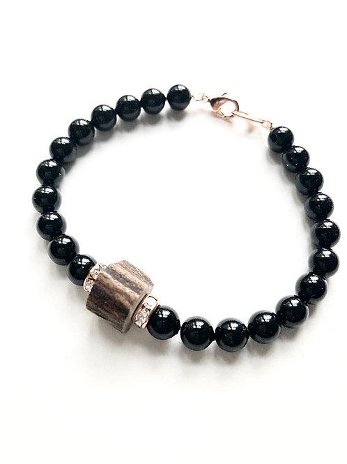 Perlenarmband *Horn* schwarz rosevergoldet