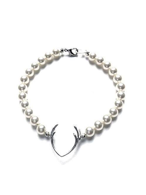 Perlenarmband *Hirschfänger* silber/weiss