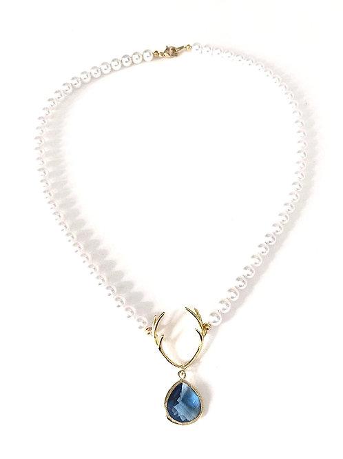 Perlenkette*Hirschfänger*, dunkelblau/white
