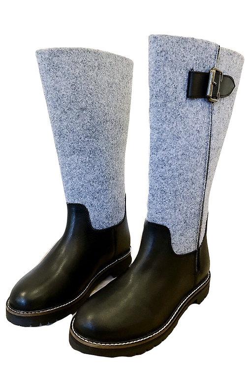Stiefel gefüttert  schwarz-grau
