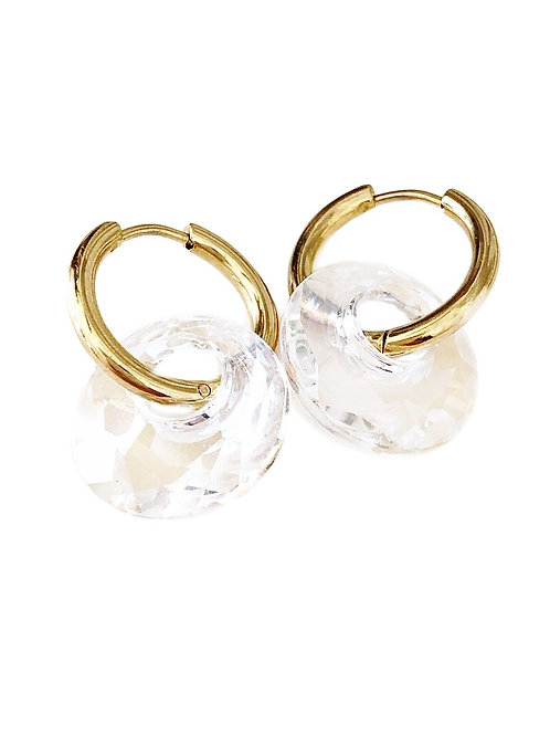 Duo Hoops VICKY gold crystal moonlight