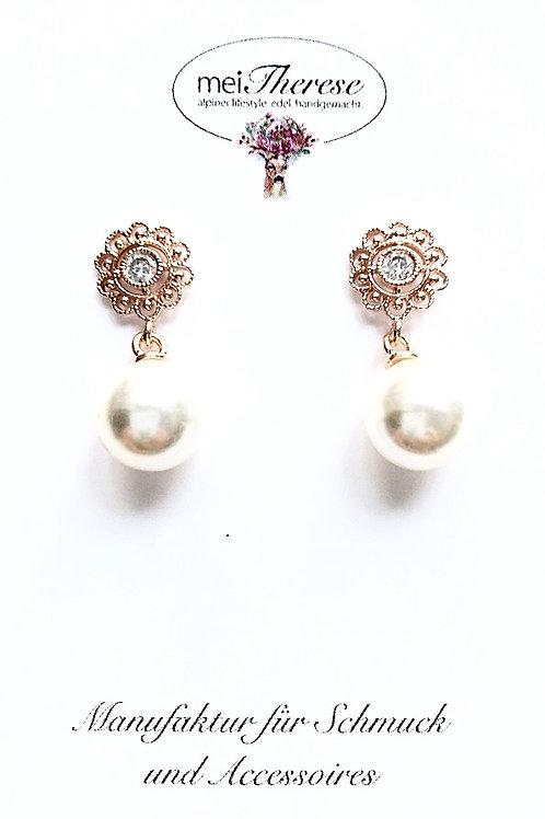 Perlenohrringe *Mitzi* rosevergoldet M
