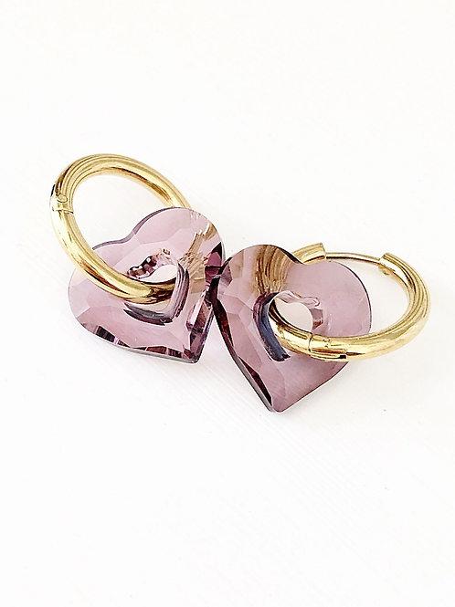 Duo Hoops Ohrringe MISS U gold crystal antik pink