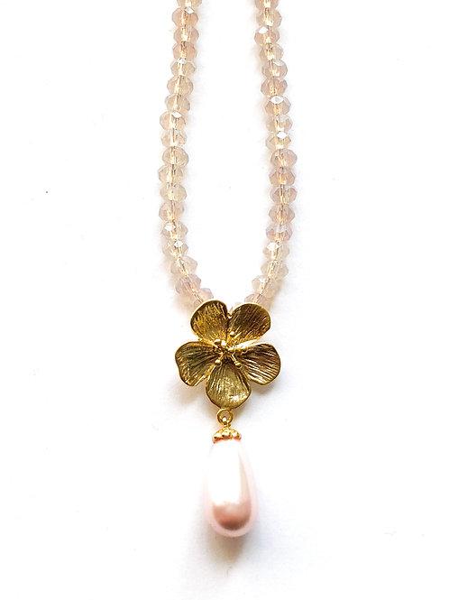 Glitzerkette *Fleur de Cerisier*, vergoldet