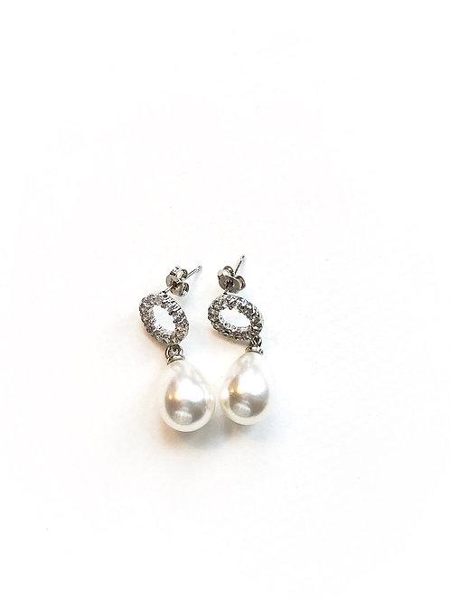 Perlenohrringe *Cercle*, silber