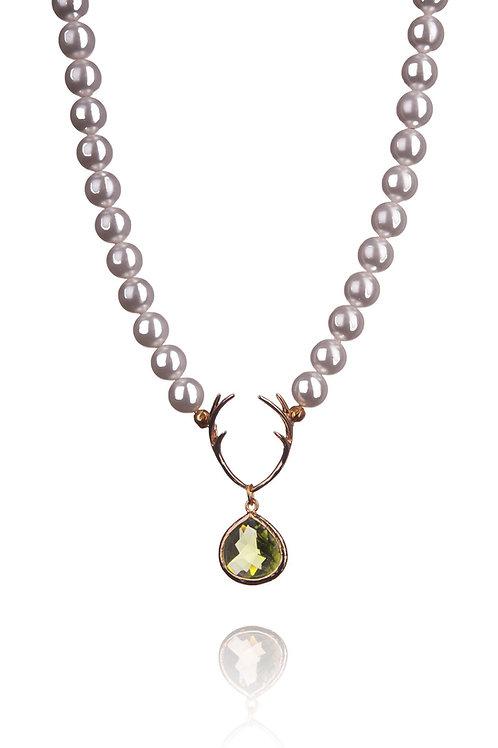 Perlenkette HIRSCHFÄNGER white/gold/oliv