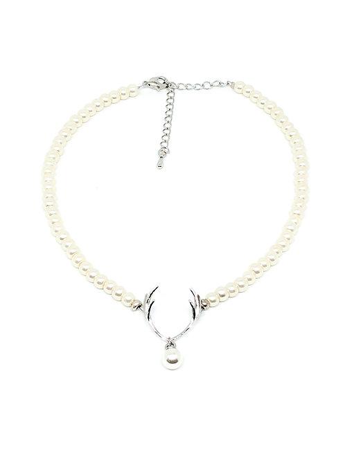 Perlenkette *Hirschfänger* Mini für Mädchen weiß/silber