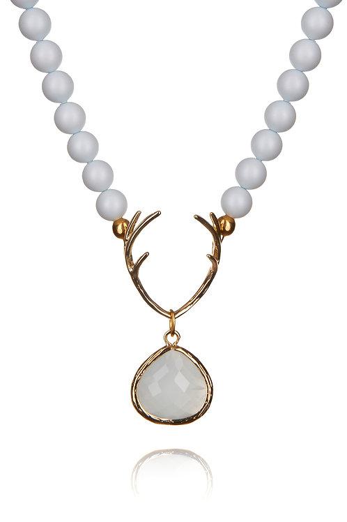 Perlenkette HIRSCHFÄNGER pastellblue/gold
