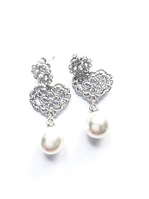 Ohrringe *Perlen für's Dirndl*, silber