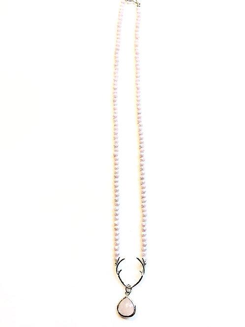 Kristallkette *Hirschklunker* mauve mit Rosenquarz