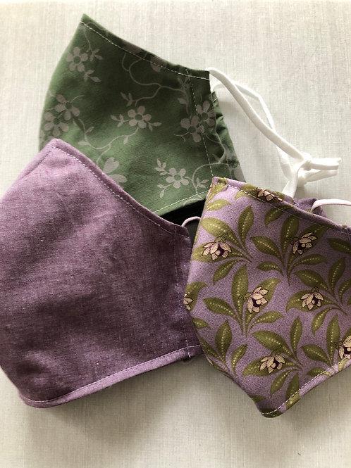 Gesichtsmasken 3er Set in Grün- und Mauvetönen