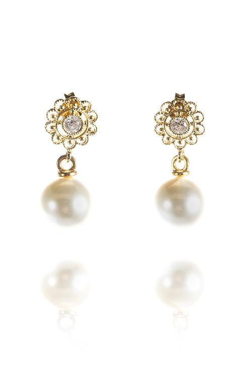 Perlenohrringe *Mitzi* mit runder Perle, vergoldet