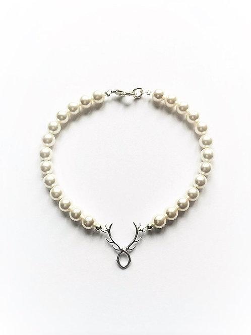 Perlenarmband  Hirscherl , white | versilbert