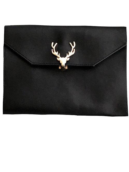 Tasche mit Hirschverschluss schwarz gold