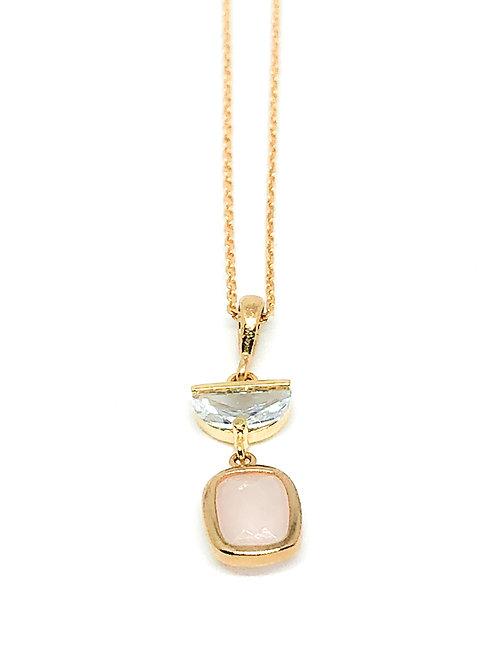 Kette *Compas* mit Rosenquarz, vergoldet