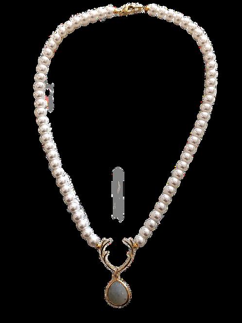Perlenkete *HIRSCHFÄNGER* vergoldet mit Labradorit