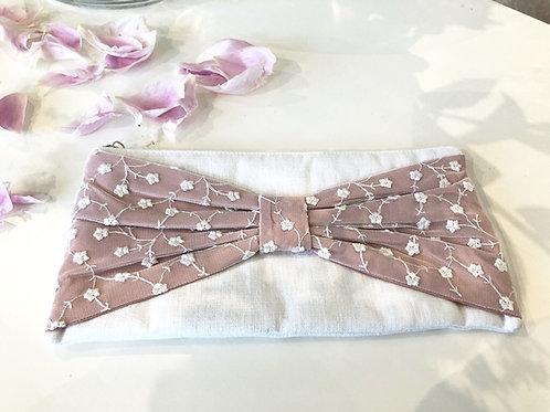 Clutch mit Reißverschluss rosa weiß