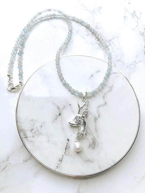 Edelsteinkette REHBOCK aquamarin 925er Silber