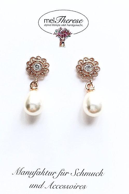 Perlenohrringe *Fritzi* rosevergoldet S