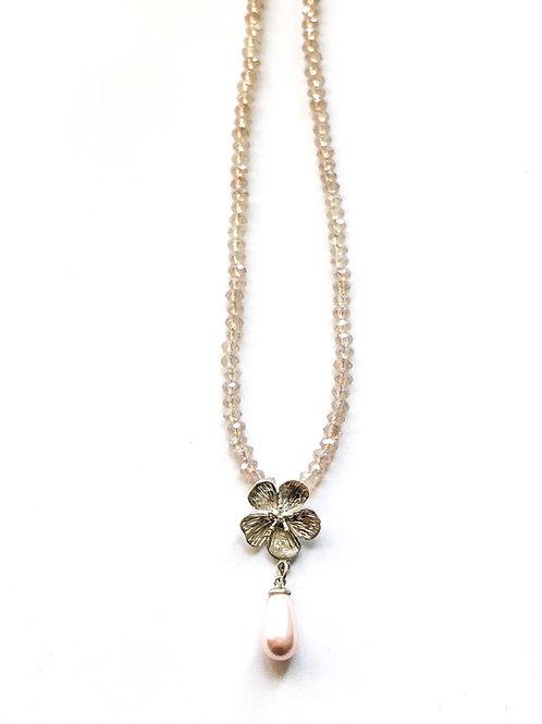 Glitzerkette *Fleur de Cerisier*, versilbert