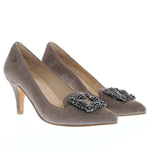 Dirndlpumps in mauve mit Strass
