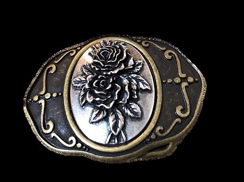 Gürtelschnalle Alpenrose bronze-silber