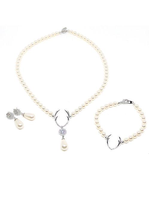 3teiliges Schmuckset *Hirschfänger* Kette, Ohrringe und Armband in silber|creme