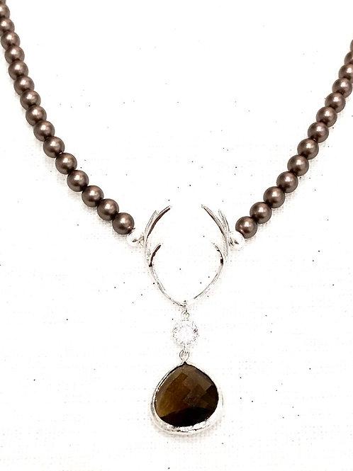Perlenkette  HIRSCHFÄNGER Deluxe braun silber