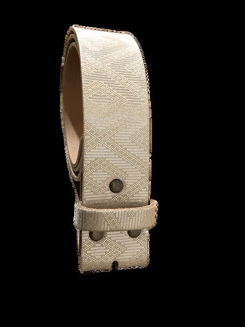 Ledergürtel silber-weiß