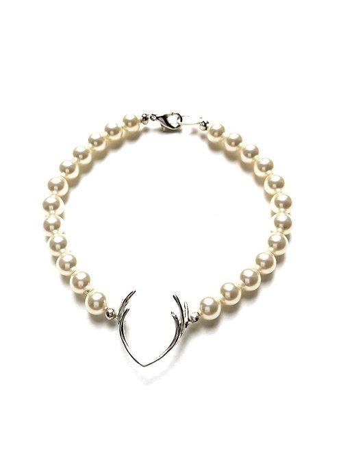 Perlenarmband *Hirschfänger* silber/creme