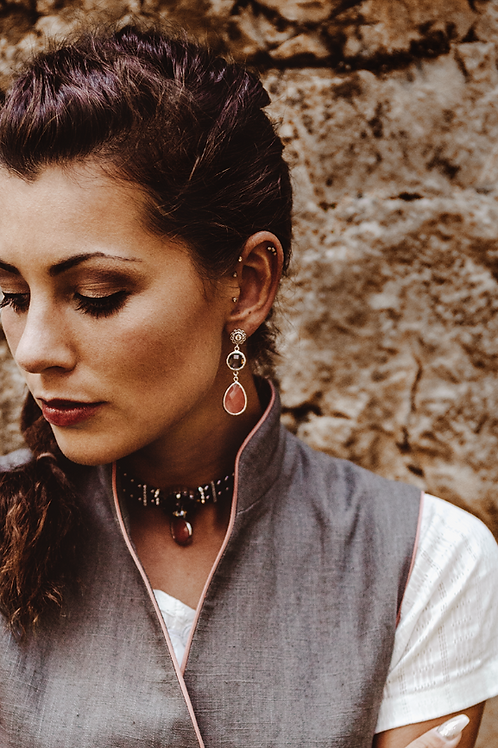 Perlenkropfkette *Lena* grau|silber m. Kirschquarz