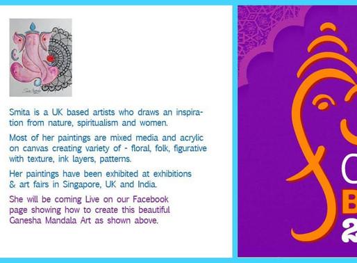 Ganesha Mandala Art, Live on FB on 1st Aug.